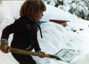 Yeshen shovelling snow, 82