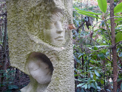 Two faces in stone