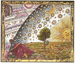 A traveller puts his head under the edge of the firmament - original (1888) printing of the Flammarion engraving.