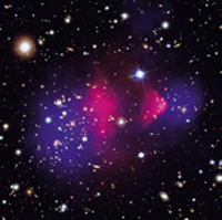 Two clusters of galaxies in collision. The ordinary matter, gas and stars from both clusters shown in red, is slowed down in the collision. The DARK matter, shown in blue, sails through and keeps on going because it does not interact. Both colours are false –the red is an image of x-ray emission, and the blue is an image of the gravitational effect on the light from more distant galaxies. Source: NASA/ESO